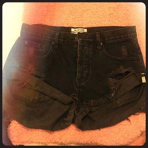 One Teaspoon Grey / Black Wash Bandit Shorts